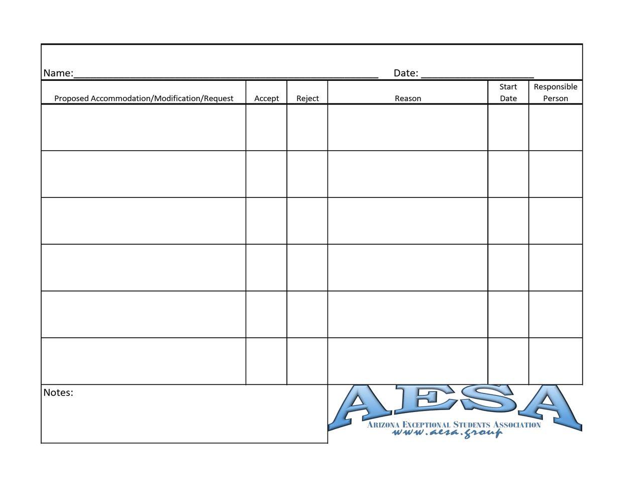 Prior Written Notice Tracker Form